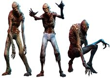 Zombies or ghouls 3D illustration royalty free illustration