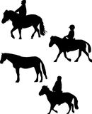 Three horsemen and single horse Royalty Free Stock Images
