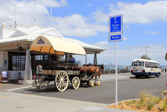 Three horses with a carriage and coachman Royalty Free Stock Image