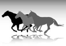 Three horses galloping silhouettes