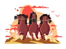 Three horses in harness running. Cartoon stallions team run gallop, strong and power free animal. Vector illustration Royalty Free Stock Image