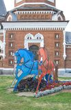 Three horses - red, blue and white. Royalty Free Stock Photo