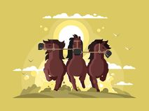 Three horses running Stock Images