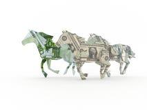 Three horses symbolizing currency racing together. Dollar, euro, ruble Stock Image