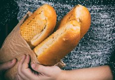 Three hot baguette in hand Stock Photos