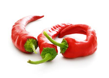 Three hot chilli pepers Stock Photography