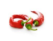 Three hot chilli pepers Stock Image