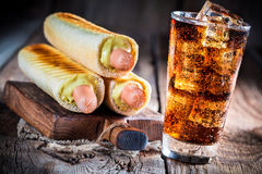 Three hot dog with sausage and mustard Royalty Free Stock Photos