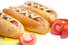 Three hot dogs Royalty Free Stock Photography