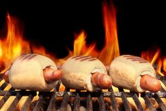 Three Hot Dogs On Flaming BBQ Grill Royalty Free Stock Photos