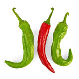 Three hot peppers Royalty Free Stock Photo