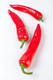 Three hot red chilly peppers Royalty Free Stock Image