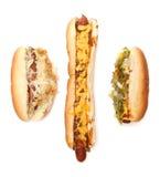 Three Hotdogs Royalty Free Stock Photos