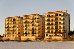 Three Hotels in Golden Light Stock Photo