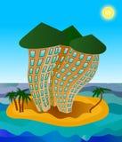 Three hotels on the island. Three multistory hotels on the tiny island Stock Photography