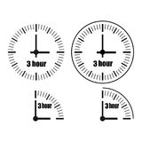 Three Hours Clock vector icon. Three Hours Clock on white background. Three o`clock. Four options.Vector illustration EPS 10 Stock Illustration