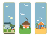 Three house banners Stock Photography