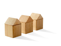 Three house with shadow Royalty Free Stock Photo