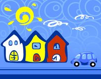 Three houses. Three multi-colored houses and the car on a dark blue background Stock Photography
