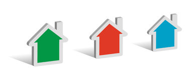 Three houses. 3D symbols with place for your text Stock Image