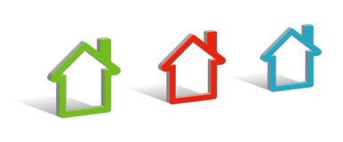 Three houses. 3D symbols with place for your text Royalty Free Stock Photos