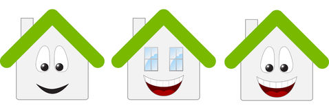 Three houses. Three happy houses. Vector illustration Stock Images