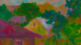 Three houses. Earth section. Original oil painting on canvas poster. Modern impressionism. Original oil painting on canvas. houses withgreen trees and blue sky stock illustration