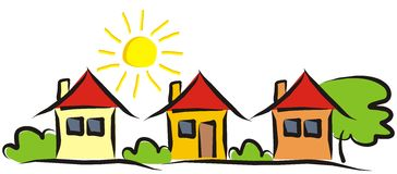 Three houses. Group of houses. Landscape with houses and bushes and trees. Sun on the sky. Vector illustration royalty free illustration