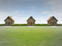 Three houses in happy neighborhood. Illustration Royalty Free Stock Photos