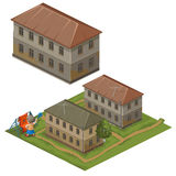 Three houses and hostess on street clothes to dry Royalty Free Stock Image