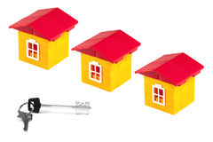 Three houses and keys Stock Photo