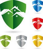 Three houses, roofs, coat of arms, real estate logo Royalty Free Stock Photos