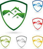 Three houses, roofs, coat of arms, real estate logo Stock Image