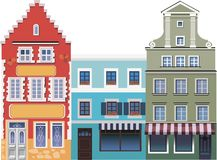 Three houses on the street. An illustration is made in a vector. Can be used in the book and on the site royalty free illustration