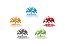 Three Houses Three Mountains Royalty Free Stock Photos