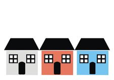 Three houses with window, door, and roof, various colours, vector icon Stock Photos