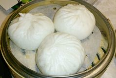 Three huge buns. Three huge stuffed buns Royalty Free Stock Images
