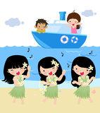 Three hula dance,illustration art Royalty Free Stock Photos
