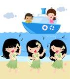 Three hula dance,illustration art Royalty Free Stock Photos