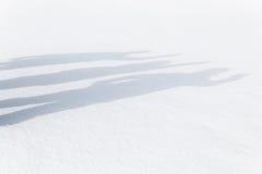 Three human shadows waving on the snow Royalty Free Stock Images