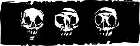 Three Human Skulls Stock Photo