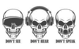 Three human skulls in headphones, virtual reality headset and ball gag. Human skulls in headphones, virtual reality headset and ball gag with wording Don`t See royalty free illustration