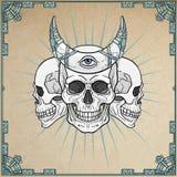 Three human skulls - the shamans, magic horn. Stock Photography
