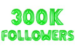 Three hundred thousand followers, green color Stock Images