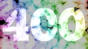 Three hundreds ninety nine to four hundreds points, level, rank fade in/out animation with color gradient moving bokeh background.