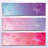 Three I Love You Banners - Purple Pink Royalty Free Stock Photos