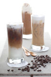 Three Ice coffee and coffee beans Royalty Free Stock Photography