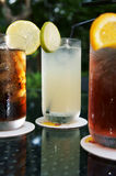 Three ice cold drinks Royalty Free Stock Images