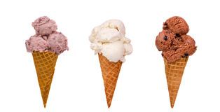 Three Ice Cream Cones. An assortment of different Ice Cream Cones Stock Photos