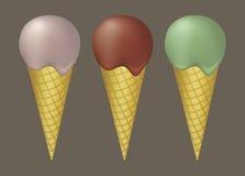 Three Ice Cream cones illustration Stock Photo